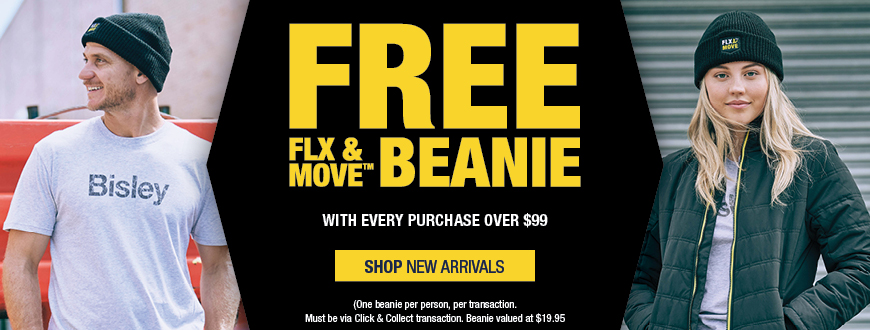 Free FLX & MOVE Beanie with every Click & Collect purchase over $99