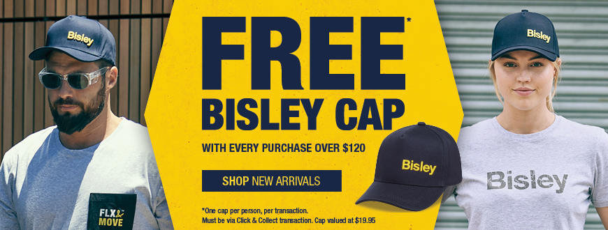 Free Bisley cap with every Click & Collect purchase over $120